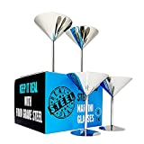 Stainless Steel Martini Glasses: Set of 4, Real Deal Steel Shatterproof 8 oz Metal Cocktail Glasses, Unbreakable, Durable, 18/8 Mirror Polished Finish, Unique