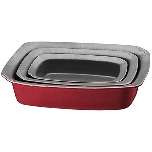WMF Kaiser Inspiration arrosto e pirofila, Set da 3Pezzi, in Ceramica Antiaderente, Resistente al Calore, Adatta al microonde impilabile, 31,5X 23,5X 7cm, Rosso