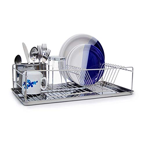 Relaxdays Égouttoir à Vaisselle en acier inoxydable chromé avec bac de récupération d'eau et porte couverts 33 x 48 x 12 cm panier à couverts place pour assiette tasse bol métal brillant, argenté