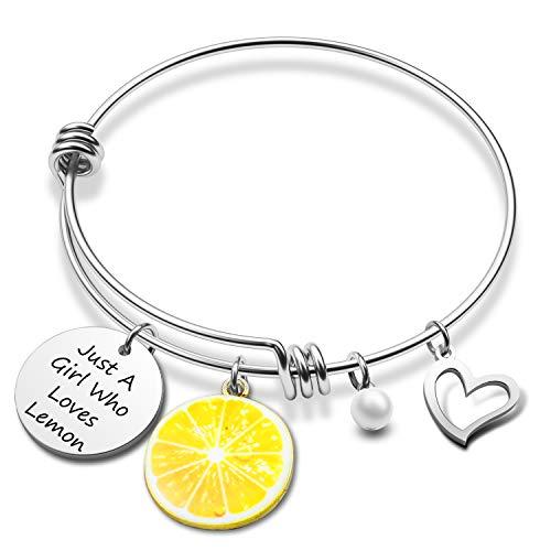 Funny Lemon Gift Just A Girl Who Loves Lemon Bracelet Lemon Charm Jewelry Gift for Lemon Lover(lemon BR)