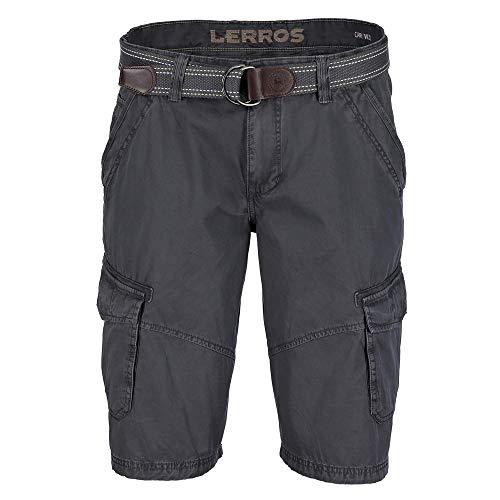 LERROS Men 2939212 269/02 Herren Bermuda mit Gürtel Diverse Taschen aus Baumwolle, Groesse 38, anthrazit