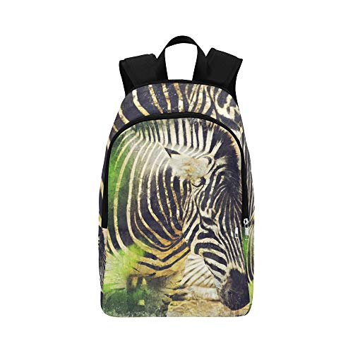 HZHENTIAN Best Backpack Art Beautiful Oil Painting Animal Zebra Durable Water Resistant Classic Cute Hiking Bag Travel Toiletry Bag Travel Bag for Girls New School Bag