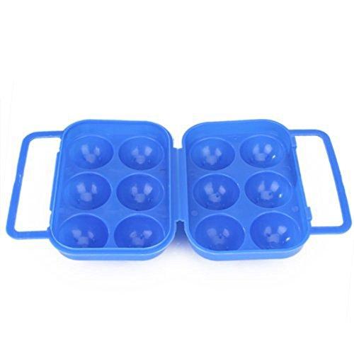 Jooks Tragbar Eier Aufbewahrungsbox Kunststoff Eierbehälter Vorratsdose Fach Eier Traeger Halter Lagerung Container Multi in Kühlschrank Outdoor Picknick Camping 6 Fach Blau