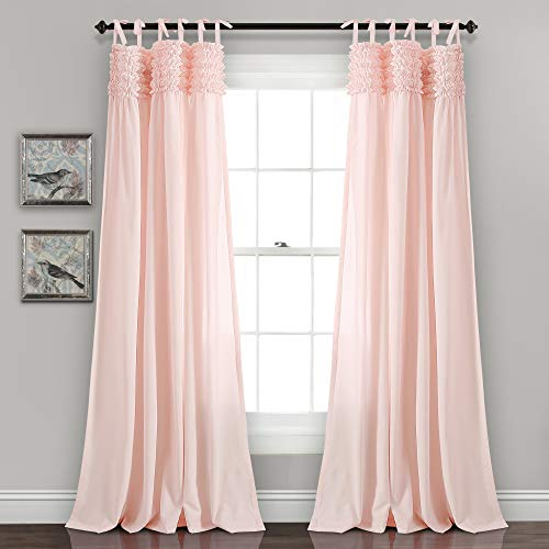 "Lush Decor Lydia Curtains Ruffle Window Panel Set for Living, Dining, Bedroom (Pair), 84"" L, Blush"