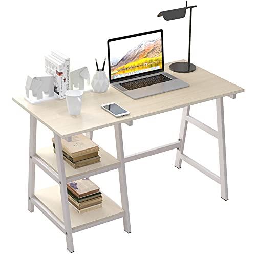 SogesPower Escritorio para ordenador, oficina, escritorio, estudio, ordenador portátil, con marco de acero y 2 estantes para mucho espacio, 120 x 60 x 75 cm, arce