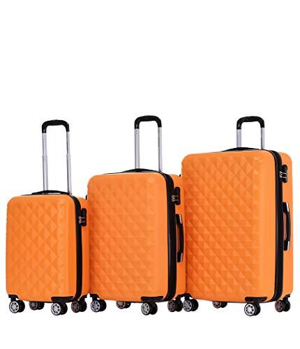 BEIBYE Zwillingsrollen 2066 Hartschale Trolley Koffer Reisekoffer Gepäck M-L-XL-Set (Orangen, Set)