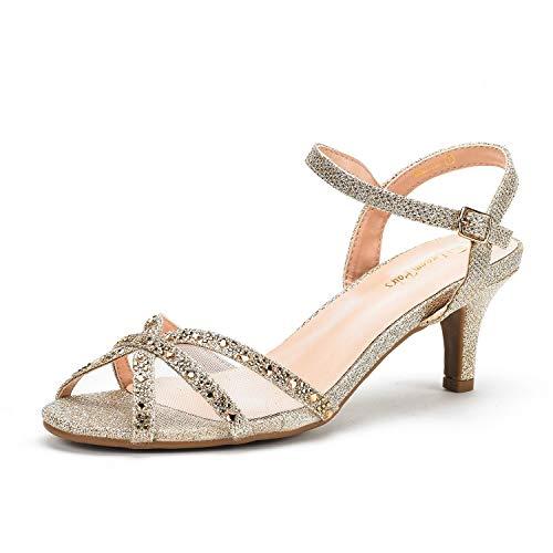 DREAM PAIRS Women's Nina-150 Gold Low Heel Pump Sandals - 7.5 M US