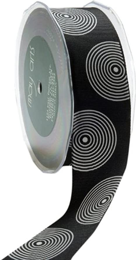 May Arts 1-1/2-Inch Wide Ribbon, Black Grosgrain with White Circles