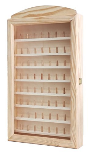 Vitrina colecciones dedales grande. Para 64 dedales. Medidas (ancho/fondo/alto): 30 * 6.5 * 54 cms. Medida interior de las baldas: ancho: 28 cms, fondo: 3 cms.