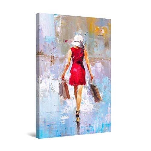 Startonight Cuadro Moderno en Lienzo - El Diablo Viste de Prada, Dama en Rojo - Pintura Abstracta para Salon Decoración Grande 80 x 120 cm