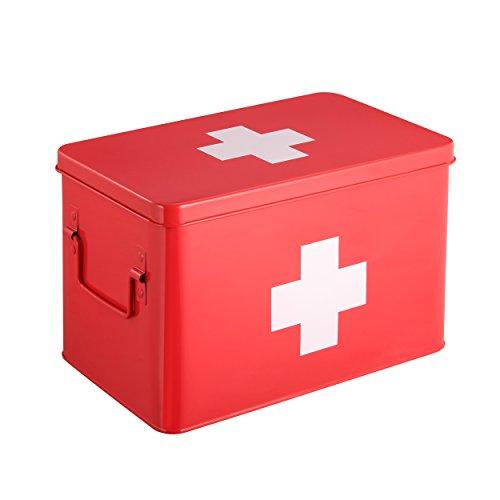 Caja Botiquín   Kit De Primeros Auxilios Metálico Rojo   5 Compartimentos De Almacenamiento De Doble Capa   31.5 x 19 x 20 cm   HARIMA