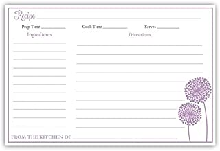 Recipe Cards, Double Sided, 4 x 6, Bridal Shower, Purple, Dandelions, Flowers, Wedding, Set of 24 Printed Cards,, Modern Floral Purple