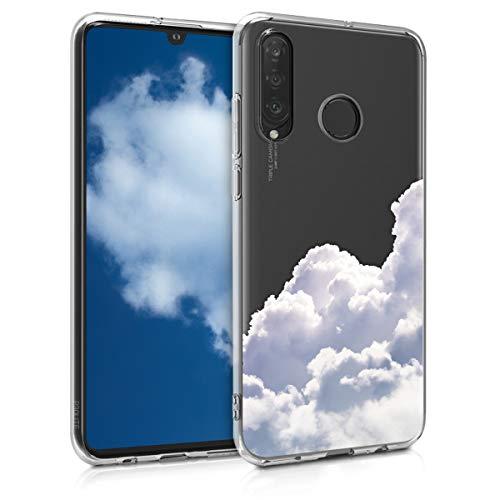 kwmobile Fodral kompatibelt med Huawei P30 Lite – genomskinligt fodral mjukt TPU-telefonskydd – moln vit/ljusgrå/transparent