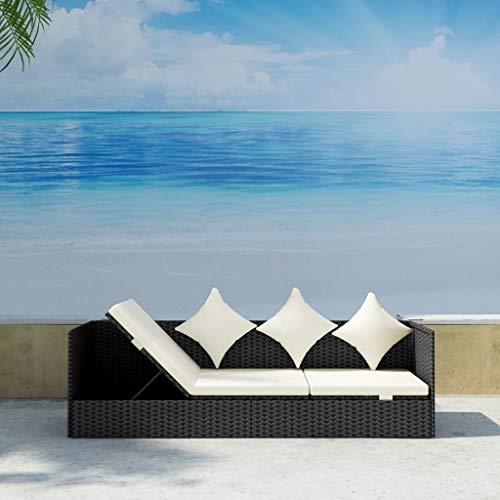 Wakects modernes Sofa Gartenmöbel-Set Patio-Sofa im Freien Couch Poly-Rattan-Sofa Couch Sonnenbett Verstellbarer Chaiselongue-Liege mit weichem Sitzkissen und Kissen 78 x 23,6 x 22,8 Zoll