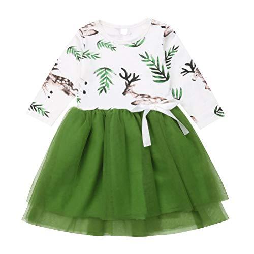 BESTOYARD Mädchen Weihnachten Druck Elch Kleid Schöne Cartoon Tüll Tutu Sommerkleid Baumwolle Floral Bestickt Party Kleid für Kinder Kinder Größe - 120 cm