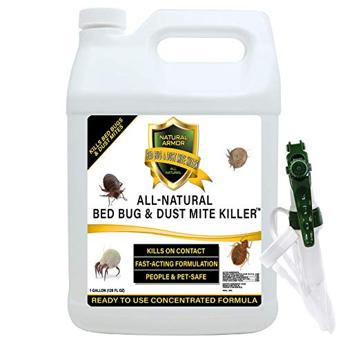 Bed Bug & Dust Mite Killer Natural Spray Treatment for Mattresses, Covers, Carpets & Furniture - Fast Extended Protection. Pet & Kids Safe - No Toxins or Chemicals 32 oz Quart