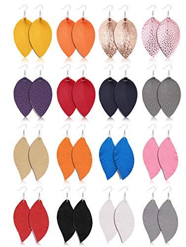Finrezio 16 Pairs Leaf Leather Earrings Set for Women Teardrop Feather Leather Dangle Earrings Soft Suede Drop Earrings Lightweight