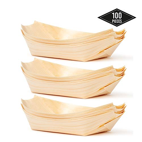 100 Barchette Monouso di bambù, 22x11cm (220x110mm) - Ecologiche, Biodegradabili - Ciotole da Dessert/Snack - Perfette per Feste, Barbecue, Ricevimenti Muziali, Picnic, Buffet e Altro.