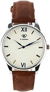 K-Martins - Reloj de pulsera para hombre, analógico, de cuarzo, con números romanos y piel marrón clásica, resistente al agua, baterías de 10 años, vestido único y casual, para oficina de negocios, trabajo o escuela