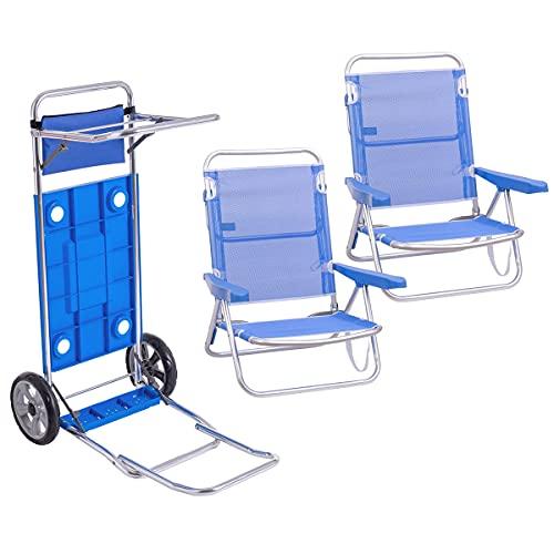 Pack de 2 sillas de Playa Azul de Aluminio y textileno y Carro portasillas Doble Despliegue - LOLAhome