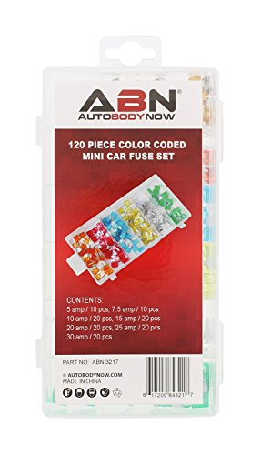 ABN 120-Piece Small Fuse Assortment – 5, 7.5, 10, 15, 20, 25, 30 AMP – Mini ATM/APM Blade Fuses for Cars, Trucks, Boats