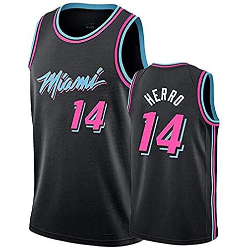 YCQQ Miami Heat 14# Herro Baloncesto de los Hombres NBA Jersey Vintage Transpirable Secado rápido Sin Mangas Vestima Top para Deportes, Más cómodo, Mejor Calidad(Size:XXL,Color:G1)