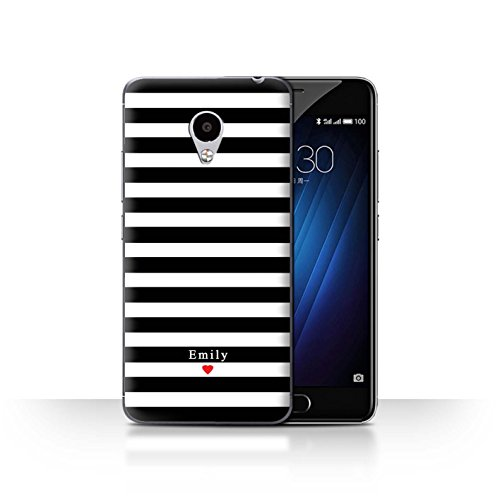Stuff4 Phone Case/Cover/Skin/mzum3s/Custom Stripes/Striped Collection Coeur Rayure Noir