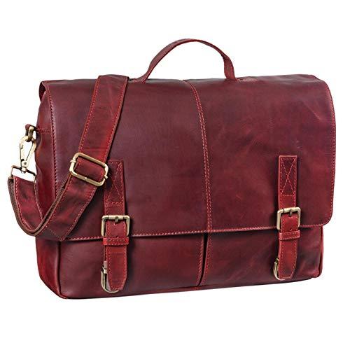 STILORD \'Manuel\' Leder Aktentasche Herren groß Vintage Umhängetasche mit Schulter-Gurt Businesstasche 15.6 Zoll A4 Henkeltasche Unitasche echtes Büffelleder, Farbe:Rosso
