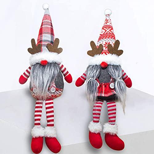 FLJUN 2PCS Decoraciones de gnomos de Navidad, Adornos de gnomos de Navidad Hechos a Mano Muñeca de Navidad para Vacaciones en casa en Interiores