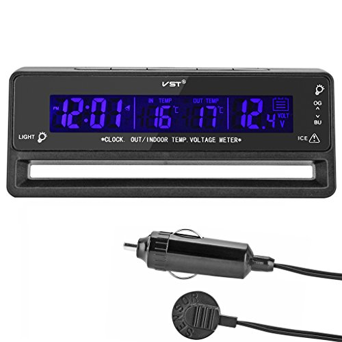 OLLGEN Multifunctional 4 in 1 Car Digital Clock in/Out Thermometer Voltage Monitor with Stand and Magic Tape