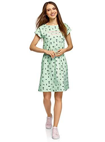 oodji Ultra Mujer Vestido con Elástico en la Cintura, Verde, ES 42 / L