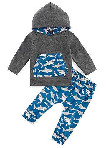 Conjunto de Sudadera con Capucha Dibujos Animados tiburón Lindo bebés y niños pequeños Sudadera Bolsillo Manga Larga pequeños Pantalones Fiesta Festival Traje Invierno para niños de 12 a 18 Meses