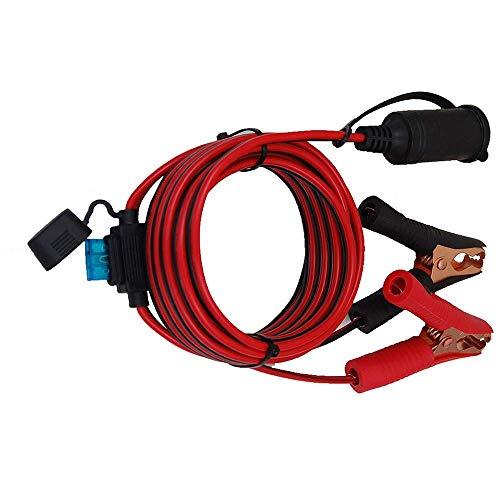 Digit.Tail Cable alargador para Encendedor De Cigarrillos, [4m - Fusible 25A 250V] Pinze di Coccodrillo a Hembra Enchufe Conector para 220V Convertidor Transformador, 12V 24V Refrigerador/Compresor