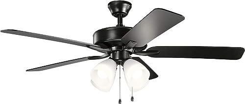 2021 Kichler 330016SBK outlet sale Basics Pro Premier 52'' Ceiling 2021 Fan with LED Lights, Satin Black sale