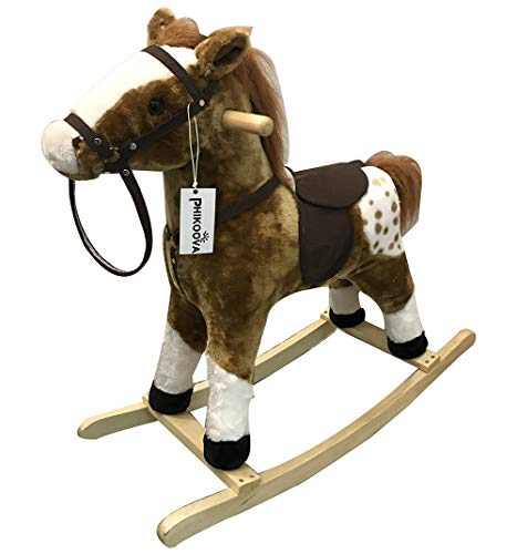 Buy PHIKOOVA Kids Metal Plush Ride-On Rocking Horse Chair Toy with Realistic Sounds