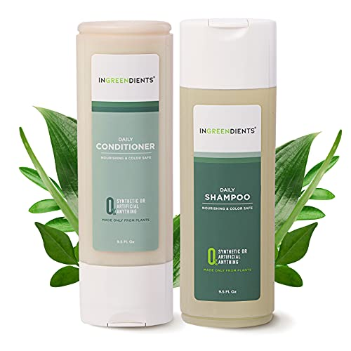 Organic Vegan Sulfate Free Shampoo and Conditioner For Sensitive Skin and Scalp For All Hair Types - 100% FROM PLANTS, 100% Natural, Color Safe, Silicone Free, Paraben Free, Gluten Free, With Apple Cider Vinegar