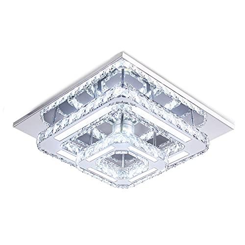 CXGLEAMING Moderne Kristall-Deckenbeleuchtung, 2-Square Kristall-Kronleuchter-Lampe Kühles Weiß LED Unterputz-Deckenleuchte für Schlafzimmer Flur Bar Küche Badezimmer