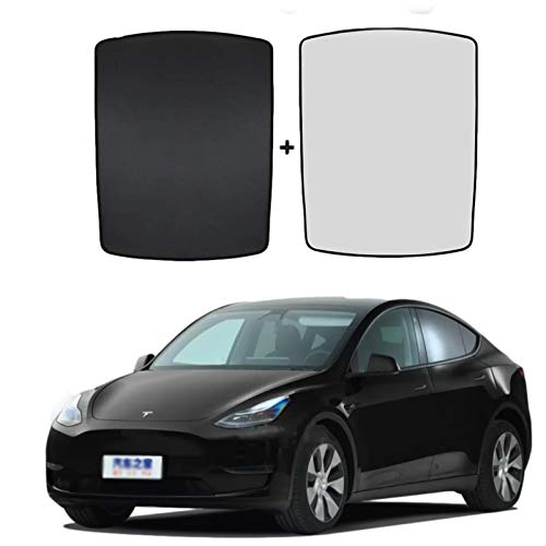Car Glass Roof Sunshade Sunroof for Tesla Model Y Accessories Skylight Curtain Sunroof with UV/Heat Insulation Cover Set Foldable Window Mesh Encryption Sun Shade Upgrade