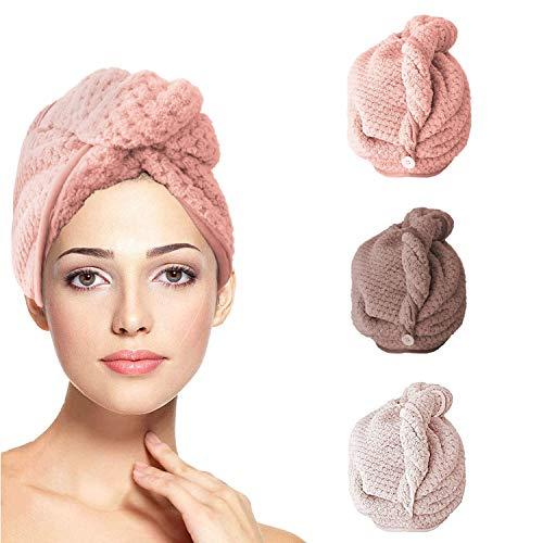 ZEEREE 3 pcs Toallas para Secar el Pelo, Ultra Absorbente Turbante para el Cabello Toalla Microfibra Toalla,con Botón Toalla Turbante para el Pelo,Mujeres
