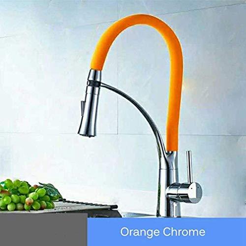 AXWT Goma Cocina Grifo Mezclador Tap Rotación Pull Down Stream Pulverizador Tapas de Agua fría Caliente Grifo de una manija Grifo de Cocina (Color : Orange)
