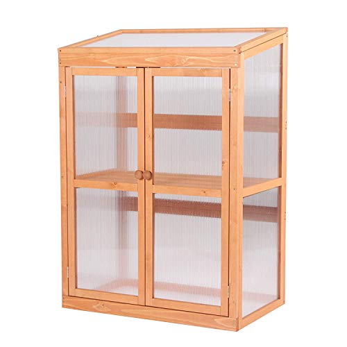 MCombo Wooden Garden Cold Frame Greenhouse Raised Flower Planter Shelf with Hard Translucent PC Protection 0760