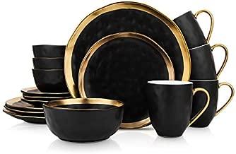 Stone Lain Porcelain 16 Piece Dinnerware Set, Service for 4, Black and Golden Rim