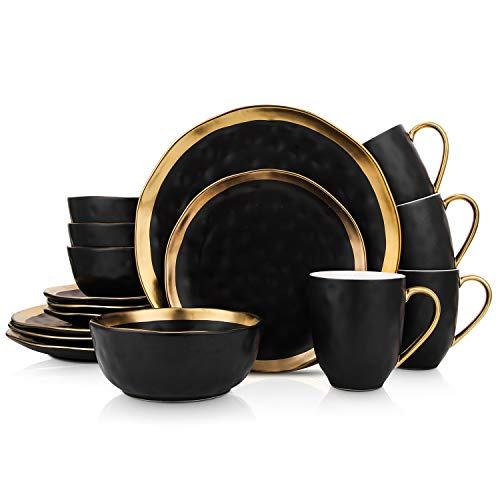 Stone Lain Porcelain 16 Piece Dinnerware Set, Service for 4, Black and Golden Rim