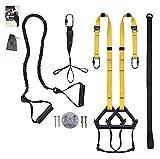 clothink sling trainer - attrezzo per allenamento a sospensione fino a 300 kg, con passanti per i piedi, istruzioni di esercizio, lunghezza regolabile, con sospensione (giallo con fissaggio a parete)
