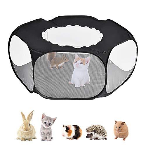 Nasjac Parque Infantil Animales pequeños, Carpa Transparente para Mascotas Transpirable con Cubierta Superior, Apertura automática en Interiores, Ejercicio al Aire Libre