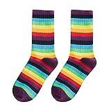 Calcetines De Rayas Multicolores Para Mujer Calcetines De Algodón De Tubo Medio Para Mujer Calcetines De Estilo Retro Rainbow Sock Crew