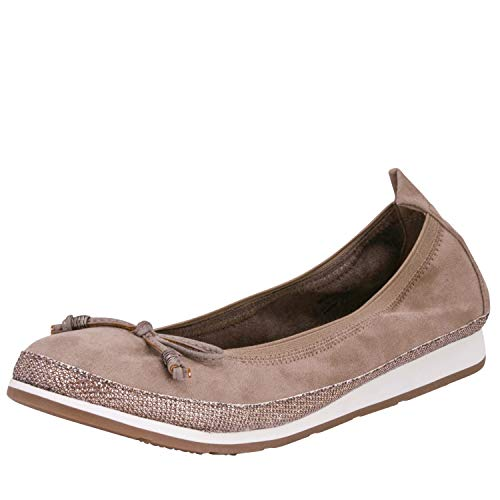 Fitters Footwear That Fits Damen Ballerina Celine Microfibre Komfort Ballerina mit Schleife Stretch Bund Übergröße (42 EU, Taupe)