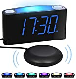 Loud vibrating Alarm Clock with Bed Shaker for Bedrooms, Heavy Sleepers Deaf Hard of Hearing Seniors - Night Light, Large Digital LED Display & Dimmer, 2 USB Chargers,12/24H DST,Plug-in&Battery Backup