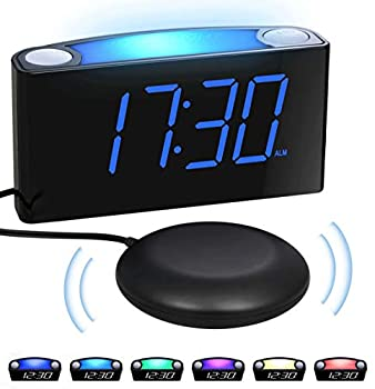 Extra Loud Vibrating Alarm Clock with Bed Shaker for Heavy Sleepers,Digital Bedroom Clock for Deaf Hearing Impaired Senior 7 Night Light Large LED Display,Dimmer 2 USB Charger,12/24H,Battery Backup