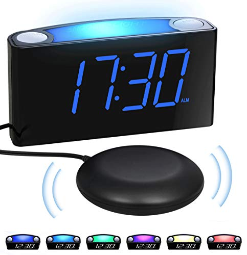 Extra Loud vibrating Alarm Clock with Bed Shaker for Heavy Sleepers Deaf Hearing Impaired Seniors Bedrooms - Night Light, Large Digital LED Display&Dimmer, 2 USB Chargers,12/24H,Plug-in&Battery Backup